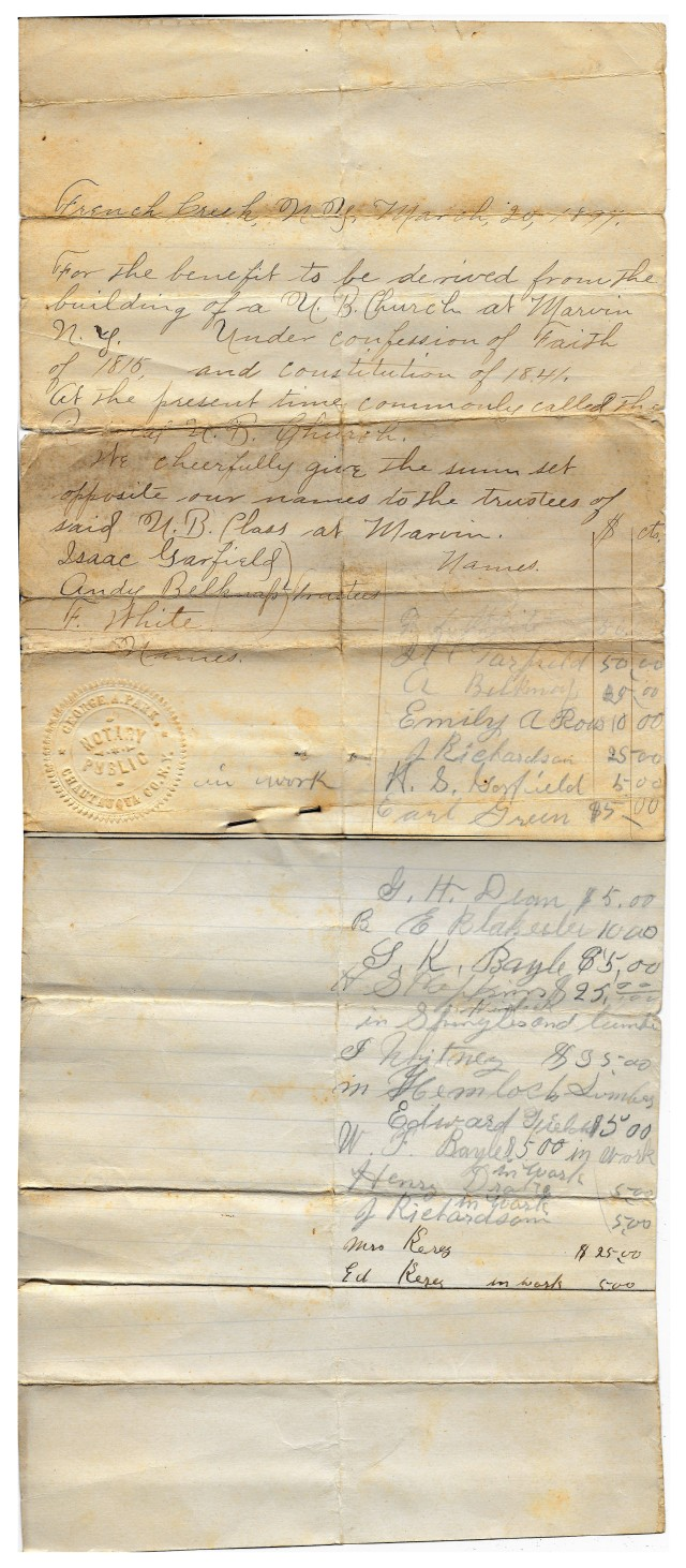 Charter for building a UB Church at Marvin, NY - Mar 20, 1897